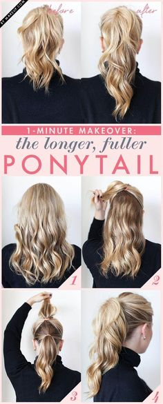 get a longer and fuller ponytail in two steps