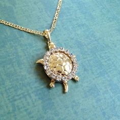 Turtle Necklace 16k Yellow Gold Plated with CZ Stones