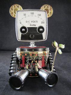 Bamboo Bot - found object robot sculpture assemblage by Cheri Kudja with Bitti Bots