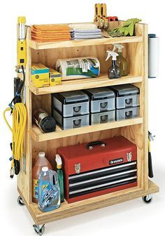 Garage storage cart for the shop. Build bigger couple maybe behind the door Garage storage cart for the shop. Build bigger couple maybe behind the door Workshop Storage, Workshop Organization, Garage Workshop, Garage Organization, Workshop Ideas, Plan Garage, Garage Tools, Garage Shop, Storage Cart