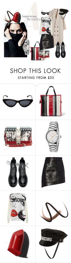 """American Beauty"" by anna-glinjanaja on Polyvore featuring mode, Le Specs, Balenciaga, Prada, Gucci, Helmut Lang, Moschino, Burberry et Bobbi Brown Cosmetics"
