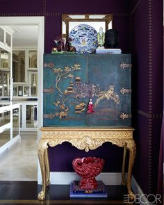 chinoiserie asian style cabinet purple room