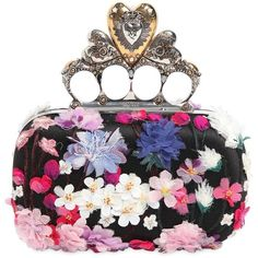Alexander Mcqueen Women Flower Appliqués Knuckle Box Clutch ($4,545) ❤ liked on Polyvore featuring bags, handbags, clutches, black, alexander mcqueen clutches, alexander mcqueen purse, knuckle handbag, flower purse and applique handbags