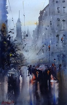 Robert Nardolillo - On My Way Home- Watercolor