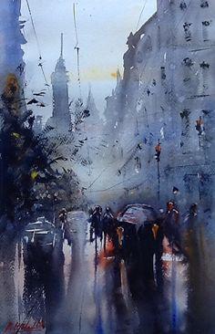 Robert Nardolillo - On My Way Home- Watercolor