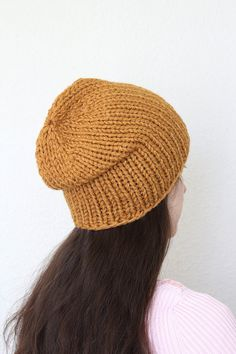 Knit beanie hat, slouchy hat. Simple minimalistic design makes it perfect for both men and women. You can wear it as slouchy hat, or as a winter hat with double brim. Ple... #kgthreads