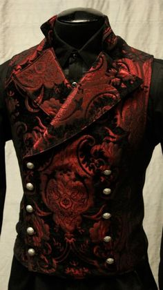 CAVALIER VEST - RED/BLACK TAPESTRY