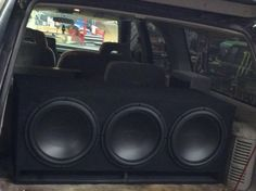 Do you need a custom made-to-order subwoofer enclosure to fit your unique vehicle application? We can do that! The team at our North Dixie store, Stereo-In-Dash, fabricated this custom enclosure to fit snuggly in the rear of this utility vehicle. Then they added three Arc Audio subwoofers and an Arc Audio amplifier, too! We've got the tools and skills to create any mobile electronics solution, so please stop by any of our three locations for more information.