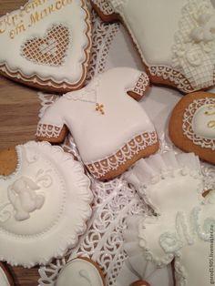 Купить Белоснежный набор крестины - белый, пряники, Пряники имбирные, пряничный сувенир, пряничные игрушки
