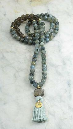 Friendship_Mala_Beads-108 kyanite and smoky quartz beads.