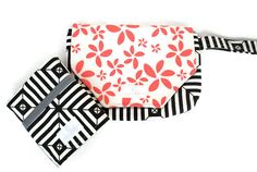 Black and Coral Diaper Clutch - Travel Changing Pad - All in 1 Diaper Clutch - Best Seller - SKU: GC001OFBC