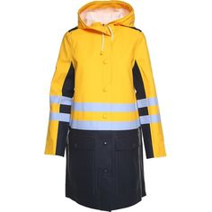 Hooded Rubberized Cotton Raincoat Stutterheim X ($748) ❤ liked on Polyvore featuring outerwear, coats, iris, blue raincoat, yellow raincoat, blue coat, rain coat and yellow coat