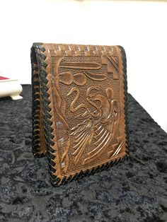 1980s Hand Tooled Leather Hipster Wallet Vintage by RetrosaurusRex