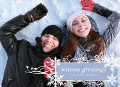 Snowflake Flourish Holiday Photo Cards