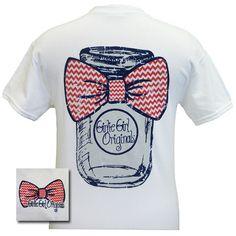 Girlie Girl Originals Mason Jar Chevron Bow Bright T Shirt