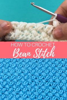 Learn how to crochet the bean stitch with this video tutorial . This creates a great texture. Learn to crochet the Bean stitch with this crochet video tutorial. The bean stitch is a wonderful texture crochet stitch. Crochet Stitches Patterns, Crochet Designs, Stitch Patterns, Knitting Patterns, Unique Crochet Stitches, Easy Crochet Blanket Patterns, Simple Crochet Blanket, Chevron Crochet Patterns, Crochet Boarders