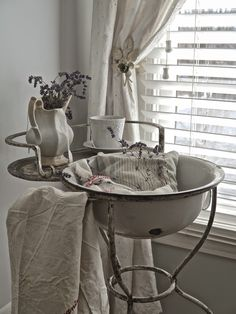 Chateau Chic - French washstand with ironstone pitcher and lavender