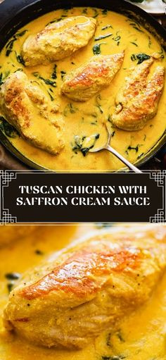 Chicken breasts cooked in a creamy saffron sauce with spinach deserves a place on your table! Explore the flavours of Tuscany through this delicious and very easy chicken recipe.