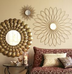 Mix different mirrors but match color for a glamorous design