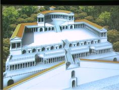 Model of the Sanctuary of Fortuna Primigenia at Palestrina: the ramps, the staircase, the hemicycles with columns supporting a curved wall, a series of shops, the spectacular theater-like staircase, the curved hemicycle at the uppermost part, and then peaking up at the top the Temple of Fortuna herself.