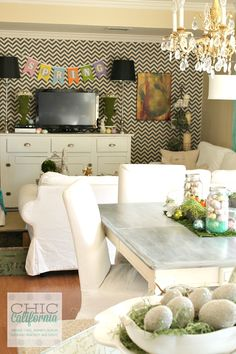 Loving this Living Room/Kitchen Combo. Great blog for Interior design ideas and DIY projects.