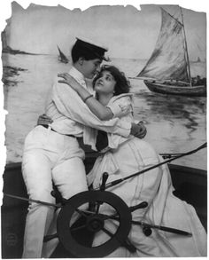 Photograph of two women embracing on sail boat by Fitz W. Guerin, 1902. Courtesy of the Library of Congress.