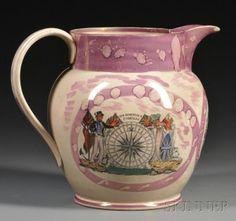 Sunderland Pink Lustre Transfer-decorated Pottery Pitcher