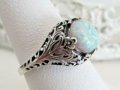 Antique Victorian Style White Opal Filigree Engagement Ring, Sterling Silver October Birthstone Ring, Floral Leaf & Vine Motif, Size 9 on Etsy, $60.00