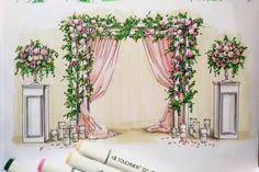 Wedding Backdrop Design, Wedding Stage Decorations, Backdrop Decorations, Flower Decorations, Wedding Drawing, Wedding Painting, Wedding Scene, Wedding Flowers, Wedding Pillars