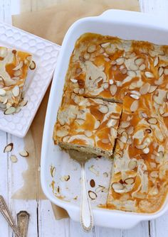Almond and Apricot Dairy-free Danish Cake. Strict Vegans: replace honey with alternative sweetener (maple syrup, agave nectar, coconut nectar, ect.)