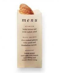 paper bag menu and bread holer