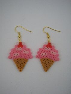 Handmade earrings / Hama beads / Perler beads / Pink ice cream cone