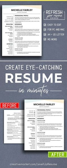 Professional Resume Template for Word, 1-3 Page Resume + Cover - professional reference