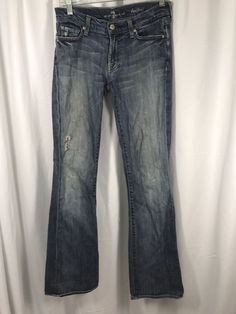 7 For All Mankind Seven Bootcut Distressed Blue Jeans sz 28 x 33 Made in USA #7ForAllMankind #BootCut