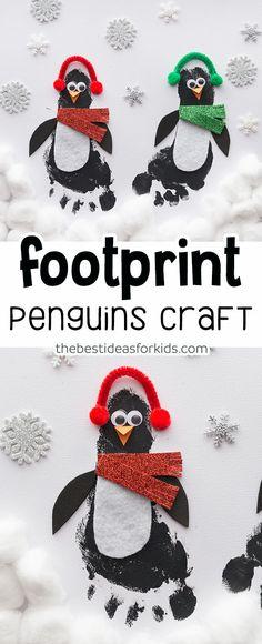 Footprint Penguin Craft - this is so cute! Such a cute Winter craft for kids! #bestideasforkids #kidscrafts #craftsforkids #kidsactivities #preschool #kindergarten #wintercrafts