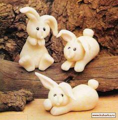DIY: How to make Easter Bunny Rabbit Cake Topper in Fondant / Gum Paste / Clay - picture tutorial