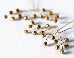 823_Gold hair pins Vine hair pins Wedding hair by ArsiArt on Etsy