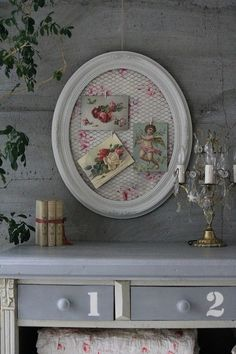 Idea for shabby chic memo board - use old picture frame, pretty fabric and chicken wire. :)