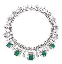 Art Deco Emerald And Diamond Fringe Necklace Mounted In Platinum   C.1925