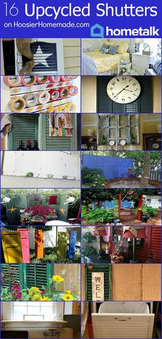 Upcycled Ideas for DIY Window Shutters | Recycle old Shutters and decorate with them | Details on HoosierHomemade.com