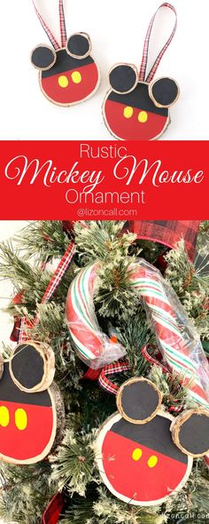 Decorate your Christmas tree to feel like you're at the Disney parks with this Rustic DIY Mickey Mouse Ornament. Mickey Mouse Christmas Tree, Mickey Mouse Ornaments, Mickey Mouse Crafts, Disneyland Christmas, Disney World Christmas, Disney Christmas Ornaments, Christmas Art, Christmas Decorations, Christmas Ideas