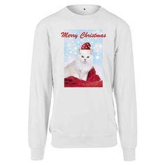 Urban Classics Crewneck sweater Merry Christmas Cat White Merry Christmas Cat, Christmas Sweaters, Hoodies, Sweatshirts, Graphic Sweatshirt, Crewneck Sweater, Sportswear, Crew Neck, Unisex