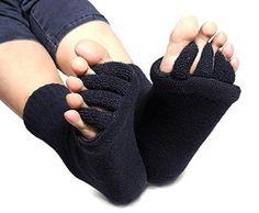 Bunion Socks From Cerkos: Unisex Comfy Toes Foot Alignment Socks, Pedicure Socks, Bunion Support Socks, Toe Separator Socks, Toe Socks, Bunion Alignment Socks for Men/women (1 Pair, Black)