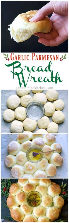 The softest dinner rolls arranged in cheerful bread wreath, topped with butter parmesan and served with a fragrant garlic parmesan rosemary oil! Pan Cacero, No Yeast Bread, Bread Baking, Garlic Parmesan, Dinner Rolls, Bread Rolls, Panes, Bread Recipes, Donut Recipes
