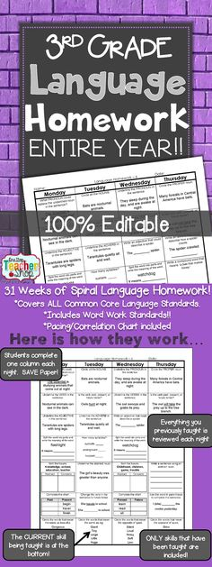 Spiral Language Homework, Morning Work, or Centers for the ENTIRE YEAR of THIRD GRADE! Aligned with 3rd grade Common Core Language standards {Grammar & Word Study}. These sheets are 100% EDITABLE, and come with answer keys. $