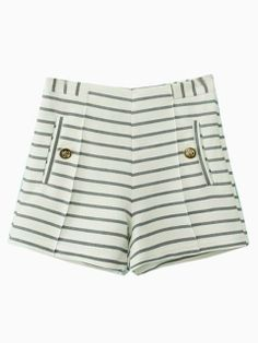 White Stripe High Waisted Shorts