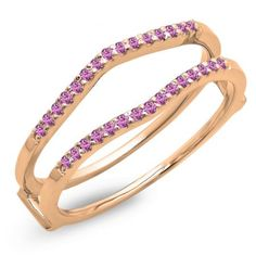 Share for $20 off your purchase of $100 or more! 0.18 Carat (ctw) 10K Rose Gold Round Pink Sapphire Ladies Anniversary Wedding Band Enhancer Guard Double Ring - Dazzling Rock #https://www.pinterest.com/dazzlingrock/