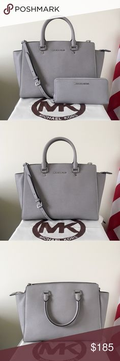 🌸Sold🌸Michael Kors Large Selma Satchel Set Classic set! Pearl gray Saffiano leather with silver detailing. Lightly used. Authentic.  The Selma Satchel is in large size, has a long strap. Shows minor wear on the hardware, one very light stain on the zipper area, really hard to see, please check it closely. Overall in good condition.  The large wallet is missing the strap. Otherwise in like new condition.  Measurement: 15*10*6 inch  Dust bag is included. Michael Kors Bags Satchels