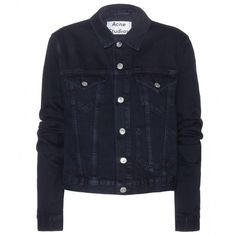 Acne Studios Tag Cropped Denim Jacket found on Polyvore