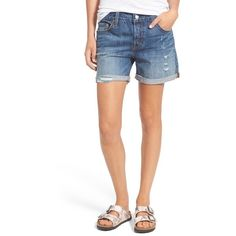 Levi's '501 CT' Distressed Denim Shorts ($60) ❤ liked on Polyvore featuring shorts, atmosphere blues, distressed shorts, levi shorts, ripped shorts, blue shorts and cuffed denim shorts